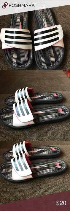 Adidas pink, black and white sandals. Size 8 Addias sandals. Size 8. Only wore a handful of times. Great condition. A little dirt under the Velcro and tiny little scuff on top. Fits 7-8 adidas Shoes Sandals