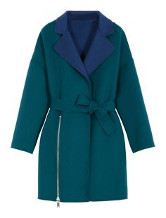 Max&Co. - Reversible robe coat, Green - - 0.000 EUR (Italian price). - Reversible robe coat in fabric with two-tone treatment. Straight silhouette. Soft styling. Above-the-knee length. Collar with lapels. Robe fastening with fabric belt at the waist. Slit with zip in the front. Dropped shoulders. Long sleeves. Pockets set into the sides. This garment is unlined. - Free Shipping and Returns!