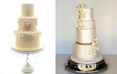 pale gold wedding cakes by Aimee Jayne Cakes left, Sweet Disposition Cakes right
