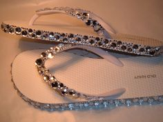 Rhinestone Bling Flip Flops Bridal Wedding by EVRhinestones from EVRhinestones on Etsy. Saved to Things I want as gifts. Flip Flops Diy, Flip Flop Craft, Bling Flip Flops, Wedge Flip Flops, Decorating Flip Flops, Navy Sandals, Strappy Sandals, Wedge Sandals, Diy Clothing
