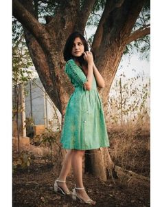 Shop Latest Indian dresses traditional dresses ethnic dresses and wedding dresses online Frock Fashion, Fashion Dresses, Indian Frocks, Indian Dresses Traditional, Kurta Designs Women, Churidar Designs, Casual Frocks, Ikkat Dresses, Kurti Sleeves Design