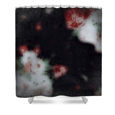 Vintage Rose Shower Curtain,Unique Flower,Black Red White Bathroom Curtain,Home Decor,Bathroom Accessories,Shabby Chic Floral Bath Curtain by HeatherJoyceMorrill on Etsy