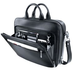 OCONI Briefcase Holds laptop, accessories and your files. Yet never looks bulky.