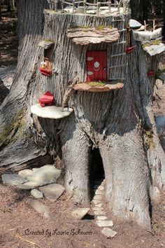 Left side of Fairy house. Put in new stone path going inside. New door, rope ladder, ladder going to sun deck with chaise lounge and new window with flower pot on sill. Fairy Tree Houses, Fairy Village, Fairy Garden Houses, Gnome Garden, Gnome Village, Garden Whimsy, Fairy Crafts, Garden Crafts, Garden Art