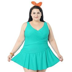 9c6e56709a603 M&Z Pure Color Swimdress One Piece Swimsuit Beachwear for Women Green-2XL  at Amazon Women's Clothing store: