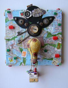 """World Traveler"" -Recycled art collage    www.etsy.com/shop/redhardwick"