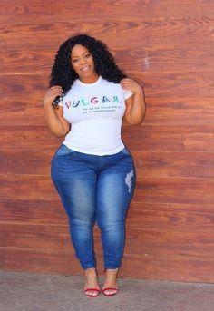 Image of Vulgar Tee-Full Glitter Thick Girl Fashion, Plus Size Fashion For Women, Black Women Fashion, Curvy Fashion, Curvy Girl Outfits, Plus Size Outfits, Plus Sise, Looks Plus Size, Plus Size Beauty