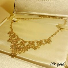 *SALE*14k Gold Statement Necklace Had my eye on this for 2 months before my ex and i broke down and bought it. We saved up rewards and everything for it! I wore it once to an opera and it has been stored in its case and box since! Practically brand new!! No scratches. 14KT gold. Lays flat on chest and stays put due to the intricate design. Kay Jewelers Jewelry Necklaces