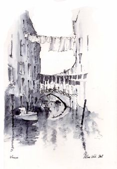Venice Canal - by Allan Kirk, 2013 Venice Canals, Watercolor, Abstract, Artwork, Painting, Florence, Pen And Wash, Summary, Watercolor Painting