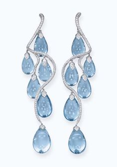 A PAIR OF BLUE TOPAZ AND DIAMOND EAR PENDANTS, BY MICHELE DELLA VALLE
