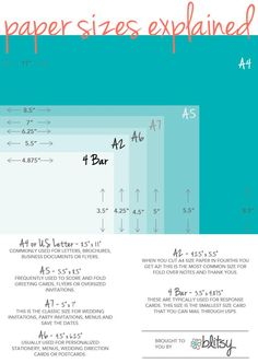 An Easy Explanation Of What Different Paper Sizes Mean. Great Reference For  Invitations, Wedding Planning, And Design Projects!