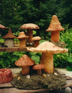 Concrete Mushrooms Toad house and rock cake by Ann Wardley  Early stuff I had a lot to learn