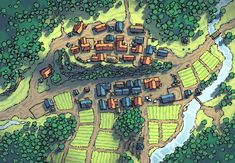 Poacher's Crest RPG town map Fantasy City Map, Fantasy Village, Fantasy Town, Fantasy World Map, Fantasy Places, Dungeons And Dragons, Village Map, Forest Village, Forest Map