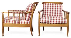 A pair of Kerstin Horlin Holmquist mahogany easy chairs