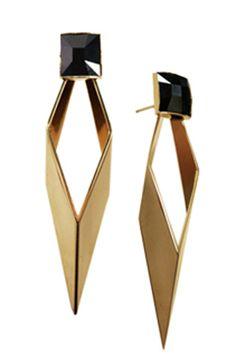 Geometric gold & black earrings