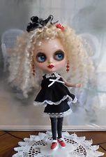 "Black & White Dress Blythe Doll 12"" Custom Outfit OOAK Fashion Lace Eyelet Bows"