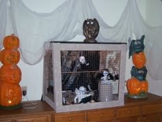 """Made some """"zombie babies"""" from old dolls and added wings and placed them in a bird cage pen that I made"""