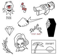 Kritzelei Tattoo, Grunge Tattoo, Doodle Tattoo, Bunny Tattoos, Cute Tattoos, Body Art Tattoos, Hand Tattoos, Sketch Tattoo Design, Tattoo Sketches