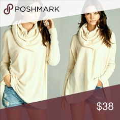 NWT Cowl neck sweater. NWT Color is called oatmeal. Very pretty. XXL 18.   I am 5 1 and too long for me. It is beautiful hate to part with it. Open to offers. No low ballers please. Sweaters Cowl & Turtlenecks