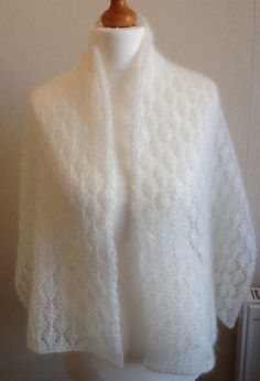 Mohair and Silk Lace Wrap Hand Knitted Shawl by Snugglescuddles, £50.00