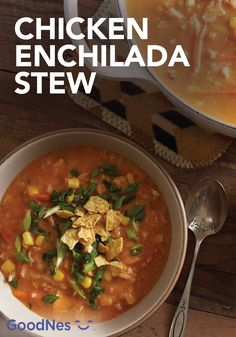 Warm up this season with a bowl of Chicken Enchilada Stew. This flavorful recipe features Maggi® Granulated Chicken Flavor Bouillon and Nestlé® Carnation® Evaporated Lowfat 2% Milk, and it is topped with chips, cilantro and green onions.