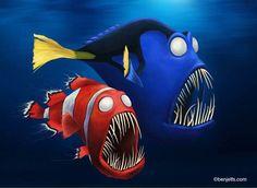 Deep sea relatives of Nemo and Dory from Finding Nemo. External Link: Ben Jelfs – Emo and Gory Emo Disney, Walt Disney, Disney Horror, Zombie Disney, Disney Fan Art, Disney Stuff, Disney Pixar, Evil Cartoon Characters, Pixar Characters