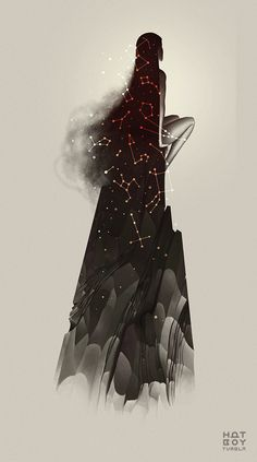 HatBoy A girl sitting on her own, with a constellation of stars in her hair. Gazing into the distance, contemplating life. Illustrations, Illustration Art, Foto Art, Art Graphique, Constellations, Art Inspo, Amazing Art, Fantasy Art, Concept Art