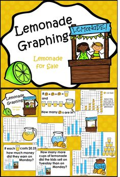 Freebie----Math Literature: This package is designed to accompany the math literature book Lemonade for Sale by Stuart J. Perfect for Cara's lemonade stand. Math Help, Fun Math, Third Grade Math, Second Grade, Grade 3, Graphing Activities, Numeracy, Math Literature, Math Classroom