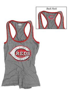 Cincinnati Reds Womens Tank Top - Grey Cincinnati Racerback Sleeveless Shirt  ... 50560c661