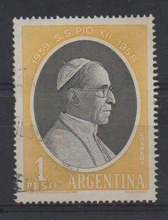 1939 -Su Santidad Papa Pio XII - 1958, 1 peso.   -lbk-