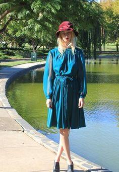 emerald Green 80s Dress