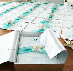 Beautiful beach wedding invitations with starfish | Mospens Studio   LOVE IT!!!!  I WOULD LOVE THIS WITH A SEAHORSE ON IT!! (INVOTATION)  ZAZZLE HAS THE SEAHORSE THINGS I LOVE FOR NAME CARDS, AND ALL THAT STUFF...