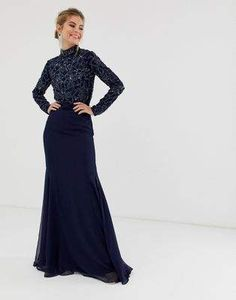 49bb920dbb5 Virgos Lounge all over embellished long sleeve maxi dress in navy