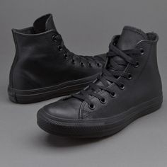 5876f8bc1a45 Converse Chuck Taylor All Star Mono Leather Hi - Black Monochrome