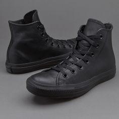 Converse Chuck Taylor All Star Mono Leather Hi - Black Monochrome