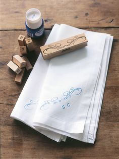 Stamp your Monogram | Add a personal touch to napery with easy to do monogramming. Use fabric paints to last many a washings.