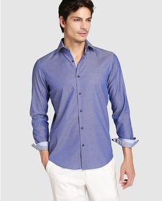 Camisa de hombre Hugo Boss estampada azul Hugo Boss, Costumes Pour Homme,  Vêtements De 18b45aa5448