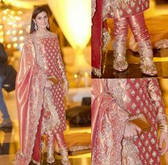 Peachy silk churidar with heavy dupatta and off shoulders Shadi Dresses, Pakistani Formal Dresses, Pakistani Wedding Outfits, Pakistani Dress Design, Bridal Outfits, Indian Dresses, Indian Outfits, Wedding Lehnga, Indian Clothes