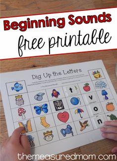 Free beginning sounds printable using letter tiles