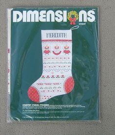 Vintage Dimensions Crewel Christmas Stocking 1984 Candlewicking #8048 #Dimensions #ChristmasStocking