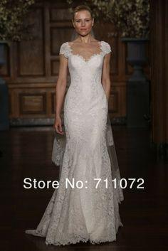 Lace Wedding Dresses with Cap Sleeves | ... Cap Sleeve Open Low Back Luxury Lace Wedding Dress Mermaid Custom Made