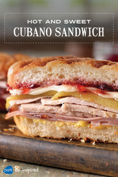 You won't believe how good this Cuban sandwich is – it's got all the fixins: ham, pork roast, Swiss cheese, chiles, mustard and raspberry jelly served hot on buttered sub rolls. You can use diced pickled jalapenos instead of chiles for more spice.
