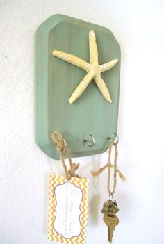 Key Holder - Key Hook Beach Decor Starfish 3 Silver Hooks - House warming gift - Ready To Ship. $14.50, via Etsy.