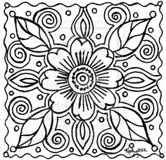 Abstract Art Coloring Pages | Abstract Flower Doodle Lineart For You to Color by KathyAhrens on ...