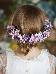 Lavender wreath ✿⊱╮ for the flower girl Lilac Wedding, Wedding Flowers, Dream Wedding, Floral Hair, Floral Crown, Flower Girls, Bodas Boho Chic, Corona Floral, Tortoise Shell Hair