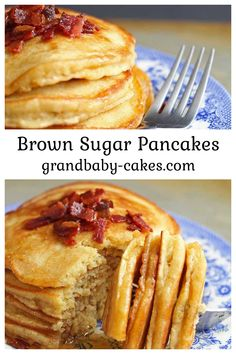 Brown Sugar Pancakes with Bacon Butter is where Happiness resides. Instant Breakfast Recipe, Breakfast Bread Recipes, What's For Breakfast, Breakfast Pancakes, Breakfast Lunch Dinner, Breakfast Items, How To Make Breakfast, Bacon Recipes, Sweet Recipes