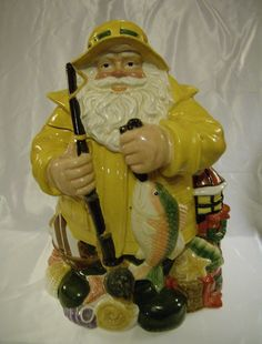 "I think my dad would have loved this cookie He loved cookies, He loved Christmas, and how he loved to go ""deep sea fishing"" in his yellow slicker fishing gear. I really miss my dad. Christmas Cookie Jars, Christmas Baby, Antique Cookie Jars, Mccoy Pottery, Vintage Cookies, Biscuit Cookies, Cute Cookies, Tea Pots, Santa"