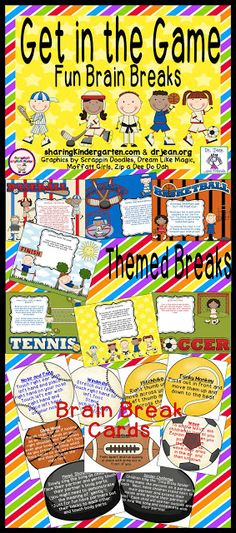 Get in the Game Brain Breaks from Dr. Classroom Behavior Management, Classroom Games, Classroom Organization, Classroom Ideas, Kids Education, Physical Education, Physical Activities, Fun Brain, Brain Gym