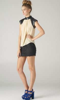 Contrast Leather Chiffon Top. Not lovin the shoes with it- but the rest is lovely.