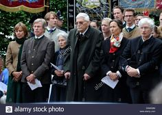 Prince Luitpold and Princess Beatrix of Bavaria, Prince Rasso and his wife Theresa of Bavaria, Prince Leopold and his wife Ursula of Bavaria (R-L) attend the memorial service in Berg am Starnberger See,Germany, 13 June 2011. 125 years ago, Ludwig II of Bavaria drowned and was found close to the chapel. Photo: Tobias Hase (ATTENTION!!Use for current coverage only!) Stock Photo Tobias, Ursula, Bavaria, Royals, Germany, June, Memories, Stock Photos, History